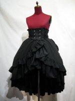 【MARBLE】マーブル バッスルリボン付きコルセット風巻きスカート:黒 Lサイズ