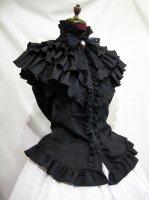 【MARBLE】マーブル クラシカルカメオタイ付きティアードフリルブラウス:黒