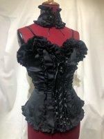 【MARBLE】マーブル 編み上げチョーカー+バラアクセサリー付き総フリル編み上げビスチェ:黒