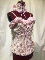 【MARBLE】マーブル 編み上げチョーカー+バラアクセサリー付き総フリル編み上げビスチェ:ピンクロマンティック花柄