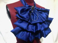 【MARBLE】マーブル チェーン付きゴシック調フリルタイ:青×紺石アンティークシルバー