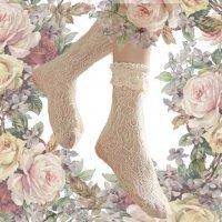【Morun×Muuna Stoik】モランムーナストイック Frill Lace socks アイボリー