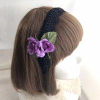 【Morun×Muuna Stoik】モランムーナストイック ミニ薔薇カチューシャ(黒×紫)