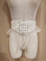 【MRcorset】エムアールコルセット FRONT LACE-UP RIBBON BELT WITH BIJOU (WHITE)