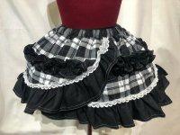 【MARBLE】マーブル 巻きスカート風フリルスカート:黒白チェック