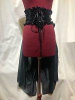 【MARBLE】マーブル バッスルベルト付き編み上げコルセット型ベルト:黒