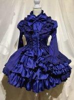 【MARBLE】マーブル  アリス風編み上げドレスワンピース:青