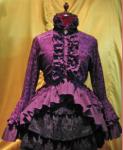 【MARBLE】別カメオタイ付き ブラウス付き風フリルカーディガン/紫ゴシック柄ニット×紫