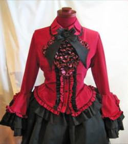 【MARBLE】デコラティブネクタイ付き 配色切り替え姫袖ブラウス/赤×黒フリル×赤地黒ゴシック柄