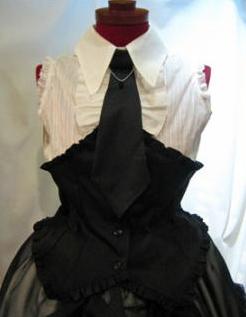 【MARBLE】ネクタイ付き コルセット風ブラウス/白柄st×黒×黒サテンネクタイ×黒しずく/SV