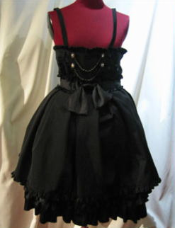 【MARBLE】パールチェーン飾り付き ハイウエストBOXプリーツスカート/黒グログラン×黒光沢フリル×黒パ…