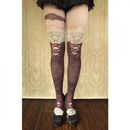【abilletage】corset tights victorian -antique bordeaux-