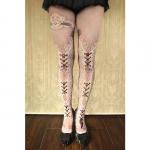 【abilletage】corset tights double lace -dolly pink-