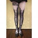 【abilletage】corset tights double lace -purple-