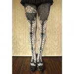 【abilletage】corset tights double lace -white-