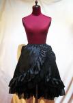 【MARBLE】マーブル パールチェーン付き バッスル切り替えロングスカート 黒×黒ジョーゼット
