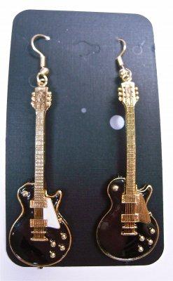 ギブソン レスポール ギター ビンテージ 1959 黒 ピアス EARRINGS LES PAUL VINTAGE 1959 BLACK WITH GOLD PICKGUARD 6…