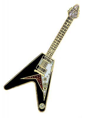 フライング V 黒 ギター ミニピン Flying V Guitar Mini Pin