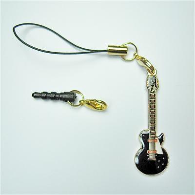 レスポール 黒 ギター スモール 携帯ストラップ スマートフォン イヤホンジャック用パーツ付き
