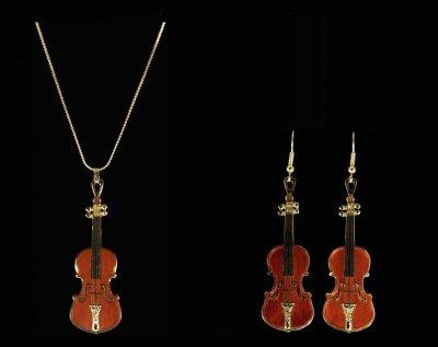 ストラディヴァリウス ヴァイオリン ネックレス ピアスセット Stradivarius Violin  543