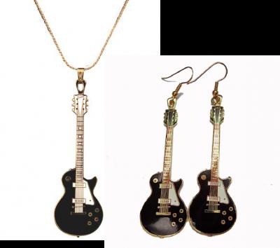 ギブソン レスポール ギター ネックレス ピアス セット Gibson Les Paul Vintage 1952  517 (黒)