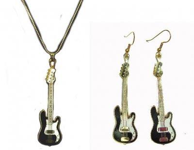フェンダー ベース ネックレス ピアス セット NECKLACE EARRINGS Fender 1951 Precision Bass (黒)