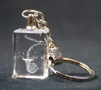 クリスタル ホルン ハープ キーホルダーCrystal 3-D French Horn Key Chain