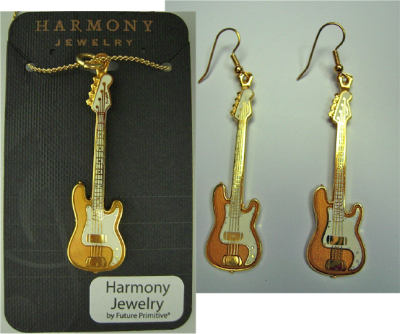 フェンダー ベース ネックレス ピアス セット NECKLACE EARRINGS Fender 1951 Precision Bass (ゴールド)