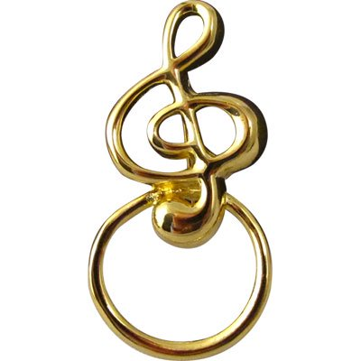 ト音記号 メガネホールダー ブローチ EYEGLASS HOLDER PIN G-CLEF GOLD