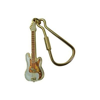 わけあり品 プレシジョンベース ギター 白 キーホルダー Elec Bass Guitar Keychain