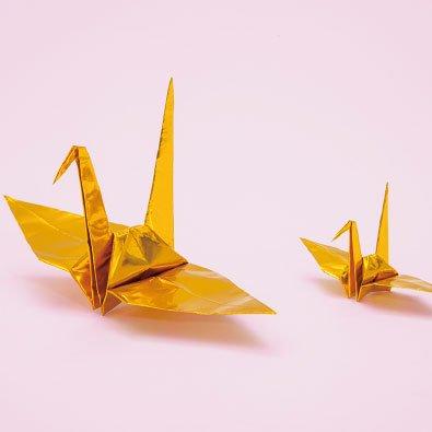 単色おりがみ 折り鶴 金 100羽 15cm角千代紙使用