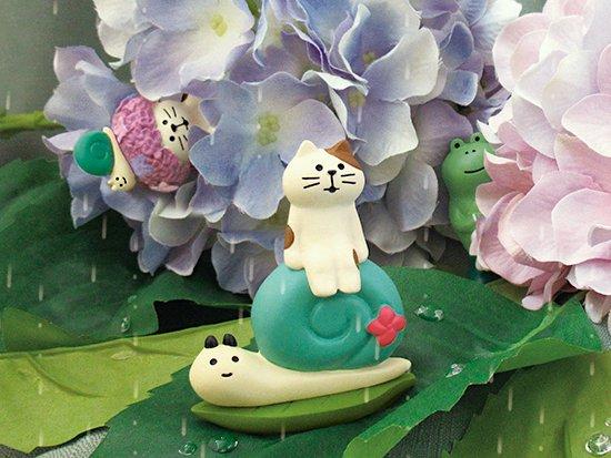 【Decole(デコレ)】concombre 雨降り猫&てるてるかえる