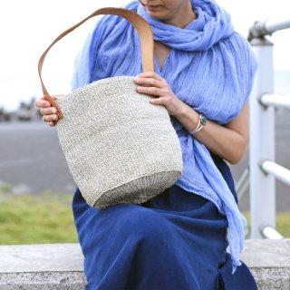 【ケニア】サイザルワンハンドルバッグ「Whitey gray」