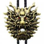 ゴールド ドラゴン ヘッド【ループタイ ネックレス】ポーラータイ ポロタイ ボロタイ