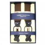 ALBERT THURSTON アルバートサーストン サスペンダー ブラウン ウインドウペインチェック