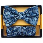 ボウタイ & ポケットチーフセット フローラル 花柄 ネイビー ブルー