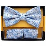 ボウタイ & ポケットチーフセット フローラル 花柄 クリーム ライトブルー