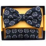 ボウタイ & ポケットチーフセット フローラル 花柄 ブラック