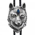ウルフ 狼 ブルー クリスタル ループタイ ネックレス ポーラータイ ポロタイ ボロタイ