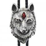 ウルフ 狼 レッド クリスタル ループタイ ネックレス ポーラータイ ポロタイ ボロタイ