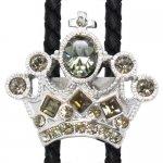 グレーグリーン クリスタル 王冠 SWANK スワンク ループタイ ネックレス ポーラータイ ポロタイ ボロタイ 日本製