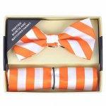 ボウタイ&ポケットチーフセット ストライプ オレンジ&ホワイト