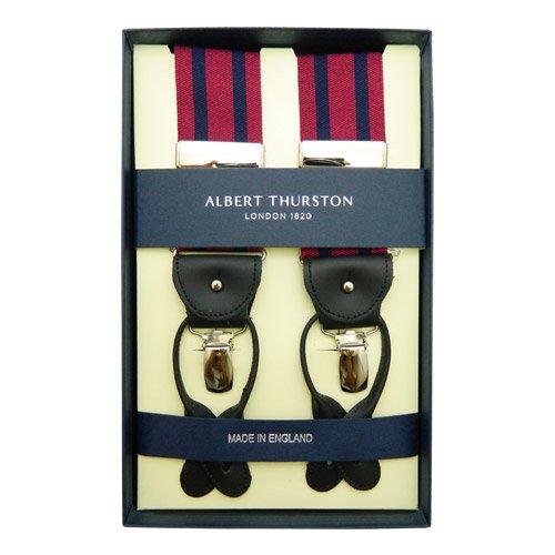 ALBERT THURSTON アルバートサーストン サスペンダー【ワイン / ネイビー ストライプ柄】