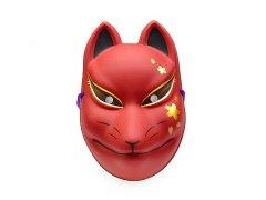 民芸品お面 狐面(桜模様/赤)(パッケージ入り) 【単価¥600】1入