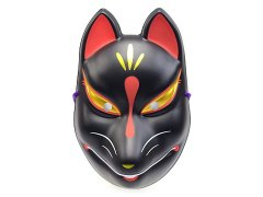 民芸品お面 狐面(黒狐・新)(パッケージ無し) 【単価¥480】12入