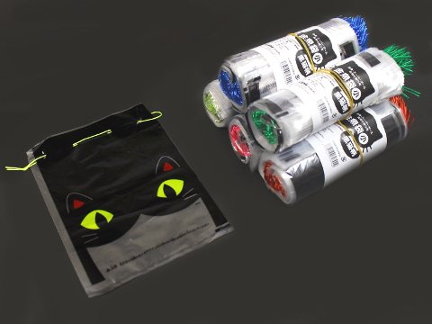 金魚袋(小)黒猫柄 【単価¥4.9】100入