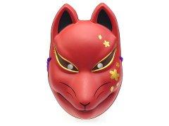 民芸品お面 狐面(桜口模様/赤)(パッケージ無し) 【単価¥480】12入