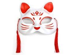 お面 猫面(壱/紅白)飾り付き(箱入り) 【単価¥720】1入