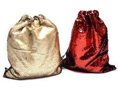 【現品限り・お買い得】スパンコール巾着アソート オレンジ/ブラック ゴールド/ブラック 【単価¥42】2入