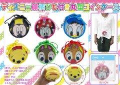 ディズニー顔柄ひも付き丸型コインケース 【単価¥63】12入
